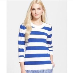 KATE SPADE BLUE & WHITE STRIPE BUTTON SWEATER SM